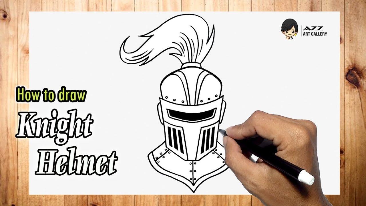 How To Draw Knight Helmet Youtube
