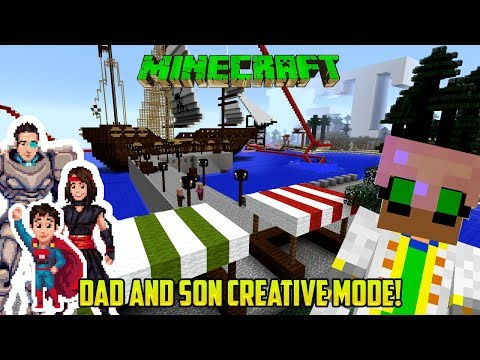 Minecraft: DAD AND SON PLAY CREATIVE! IGT LAND