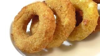 луковые кольца в панировке .Fried onion rings ( GIF гифка )