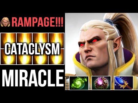 MIRACLE- INVOKER CATACLYSM! OMG COMBO RAMPAGE CRAZY GAMEPLAY 7.07 DOTA 2