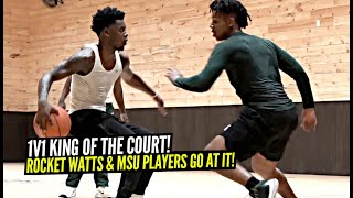 1v1 King of The Court D1 Hoopers GOING AT IT! Rocket Watts vs His MSU Teammates Aaron Henry & AJ!