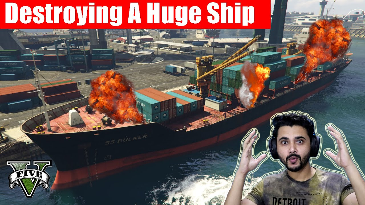 OMG!! We Destroyed The Biggest Cargo Ship | GTA V Gameplay #17