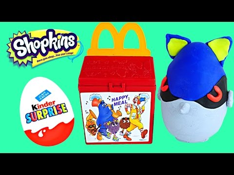 Thumbnail: McDonalds Kinder Surprise Eggs Happy Meal Toys Play Doh Spongebob Shopkins MLP Frenzies