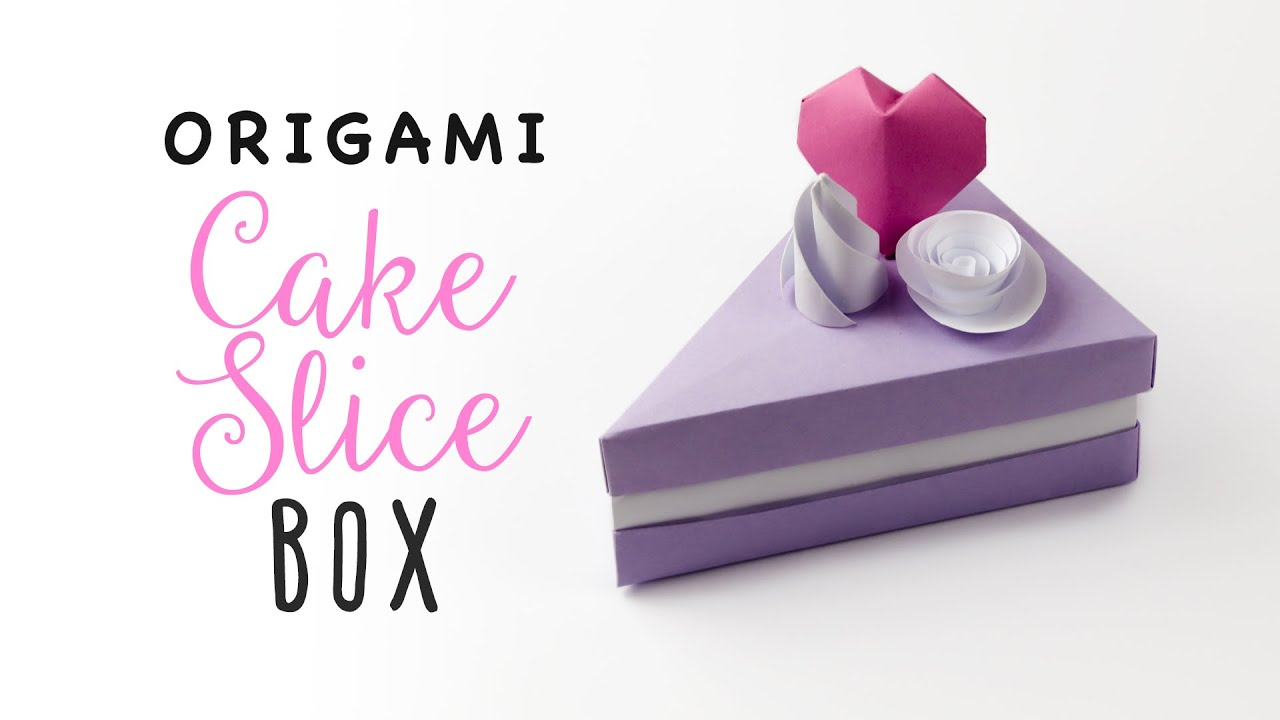 Origami Cake Slice Box Tutorial Triangular Paper Kawaii
