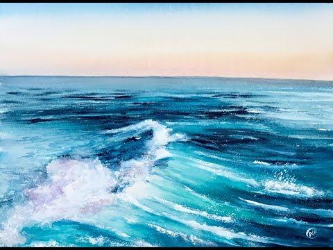 Sea Water in Watercolors Painting Tutorial
