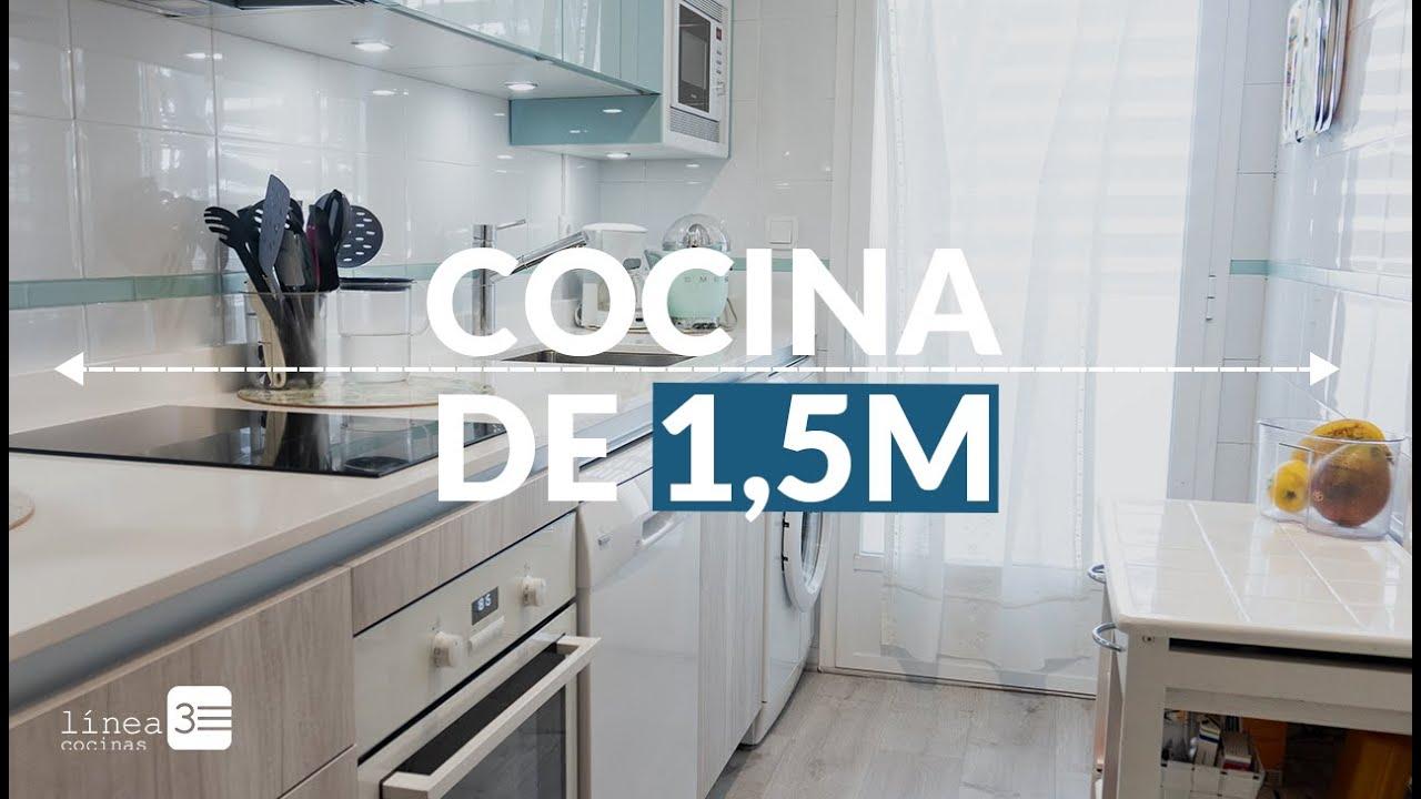 Cocina peque a y moderna con colores claros youtube for Cocinas pequenas modernas y funcionales