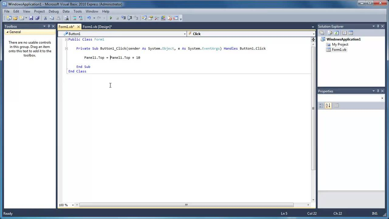 Learn Visual Basic - #30 - Changing the Position of a Control