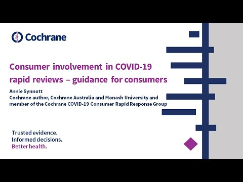 Consumer involvement in COVID-19 rapid reviews - guidance for consumers
