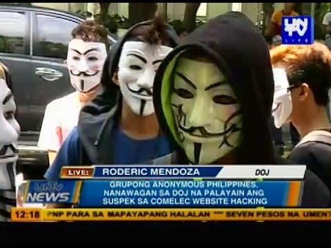Anonymous Philippines, nanawagan sa DOJ na palayain ang suspek sa COMELEC website hacking