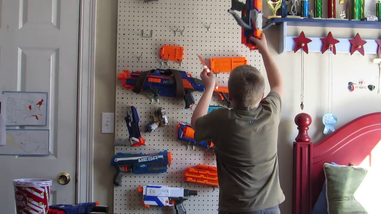 how to set up a nerf gun rack - YouTube
