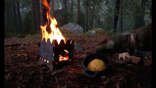 Camping overnight in Heąvy rain under a tarp