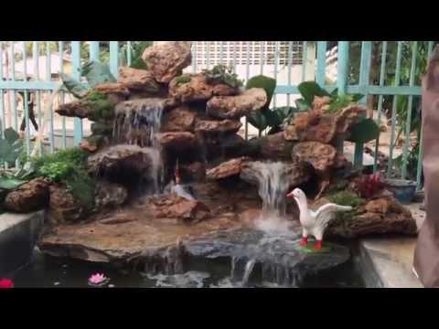 น้ำตกจำลอง หินฟองน้ำ