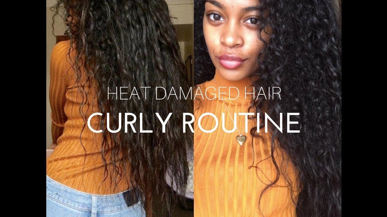 heat damaged curly hair routine