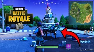 FORTNITE BIRTHDAY CAKE LOCATIONS CHALLENGE GUIDE! DANCE IN FRONT OF DIFFERENT BIRTHDAY CAKES FORT!