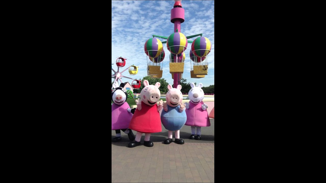 Peppa Pig Friends & Family Waving in Peppa Pig World Theme Park