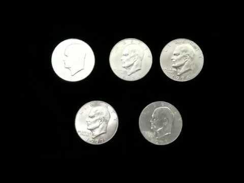 Монеты 1 доллар США Серебро UNC, Доллар Эйзенхауэра (Лунный Доллар)- 1974, 1977, 1978