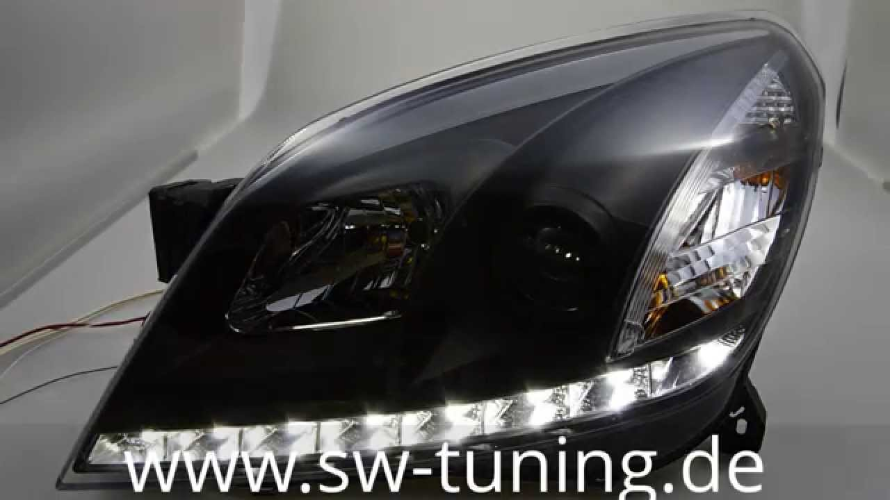 sw drl scheinwerfer opel astra h mit led tfl black sw. Black Bedroom Furniture Sets. Home Design Ideas