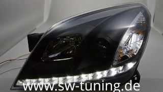 SW-DRL Scheinwerfer Opel Astra H mit LED TFL Black Sw-Tuning