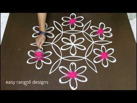 Flower kolam designs with 9 dots for pongal 2018 with color -Sankranthi muggulu easy rangoli designs