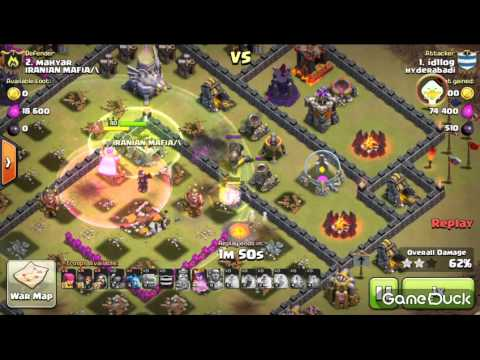 COC 3* TH11 After 3x golem damage by EA upgrade