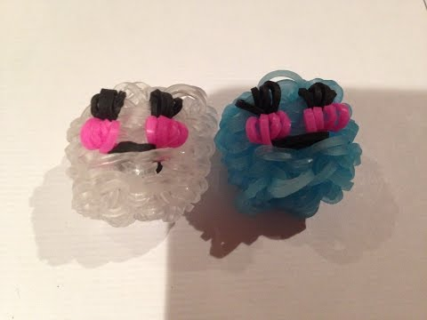 How to make a rainbow loom happy mini ice cube(happy food) (original design) using a monster tail