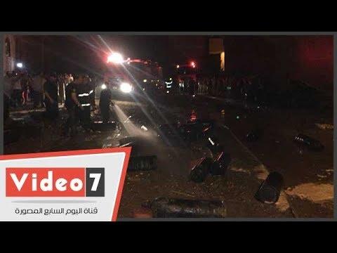 اليوم السابع :الدفع بـ 9 سيارات إطفاء للسيطرة على حريق مستودع أنابيب أسيوط