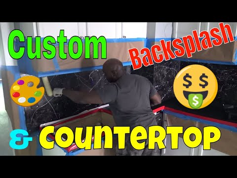 DIY Custom Back Splash & Resin Countertops for only $56