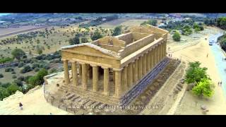 Aerial footage of the Valley of the Temples, Agrigento, Sicily.