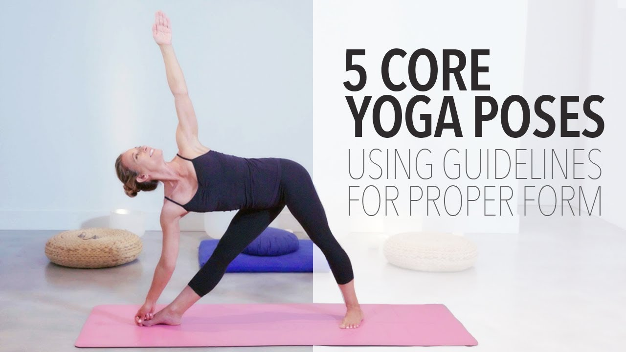 5 Core Yoga Poses Using Guide Lines On Yoga Mat For Proper Alignment Youtube