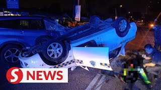 Cop dies, another hurt after patrol car overturns in MPV-SUV collision