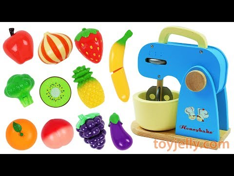 Learn Fruits Vegetables Wooden Velcro Mixer Kids Toys Play Doh Birthday Cake Baby Finger Song Rhymes