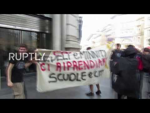 Italy: McDonalds and Zara outlets defaced in Milan as students march over education legislation