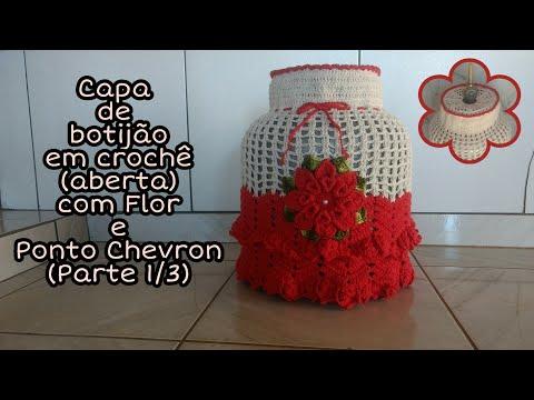 Capa de botijão de gás aberta em crochê com flor e ponto chevron ( Parte 1/3)