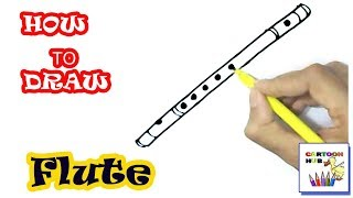 How to draw Flute  in easy steps, step by step for children, kids, beginners