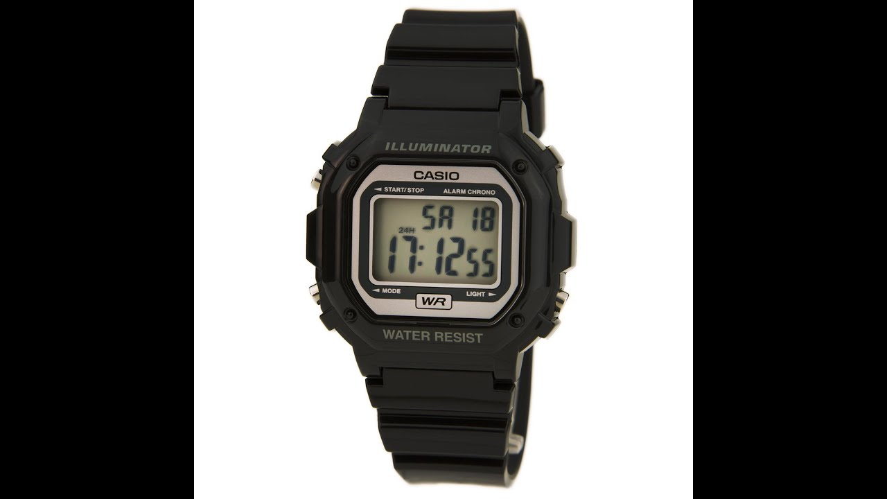 737909910 Casio F108WHC-1A Men's Classic Casual Alarm Chrono Black Resin Digital Dial  Watch Review Video