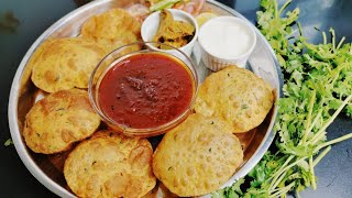 स्वादिष्ट नाश्ता स्पेशल चटनी के साथ, Instant Breakfast Recipe with Special Chutney Puri | Poori