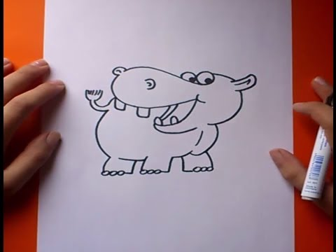 Como dibujar un hipopotamo paso a paso  How to draw a