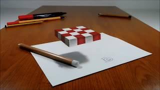 3D küp nasıl çizilir (3D Trick Art on Paper, Floating chess)
