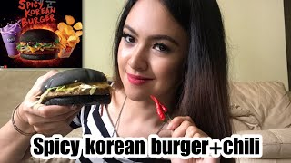 Spicy korean burger tak pedas!!