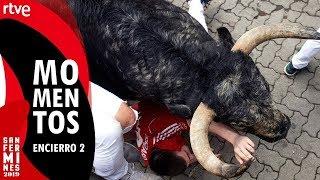 Mejores imágenes del segundo encierro | Toros de Cebada Gago | San Fermín 2019