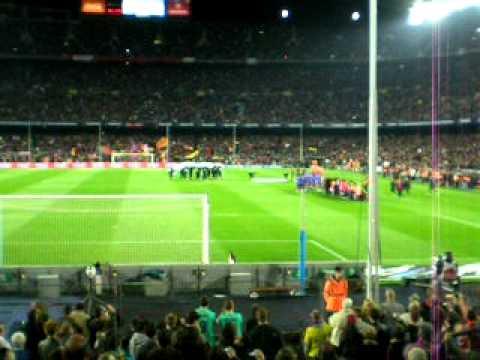AAC BCN Inno del Barça + minuto di silenzio (vittime Giappone)