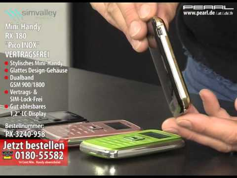 "simvalley MOBILE Mini-Handy RX-180 ""Pico INOX SILVER"" VERTRAGSFREI"