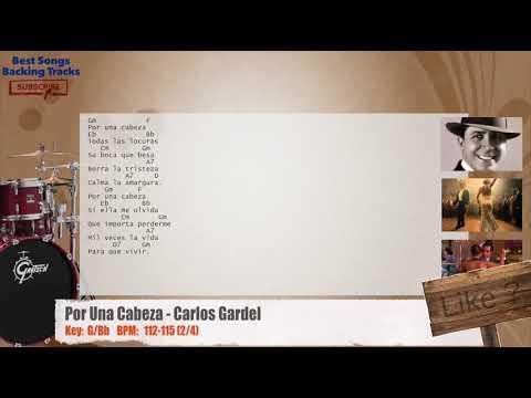 Por Una Cabeza (Tango) - Carlos Gardel Drums Backing Track with chords and lyrics