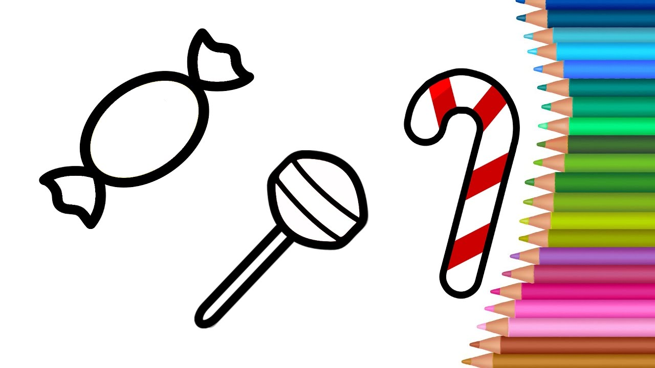 candy coloring pages for kids learning colours with candy cartoon
