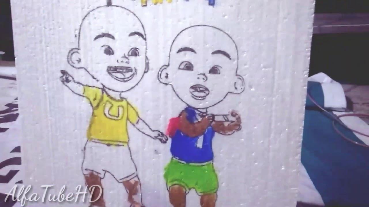 Menggambar Upin Ipin Di Pasar Malam Kaya Lomba Mewarnai Youtube