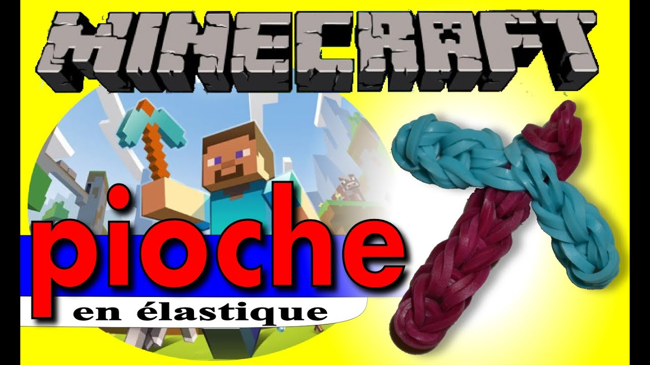 tuto pioche minecraft en lastique rainbow loom bands avec machine francais youtube. Black Bedroom Furniture Sets. Home Design Ideas
