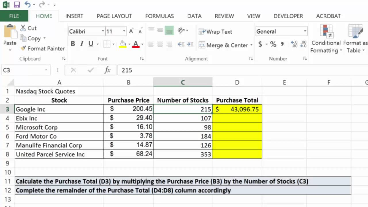 Excel 20 Basic Multiplication Formula