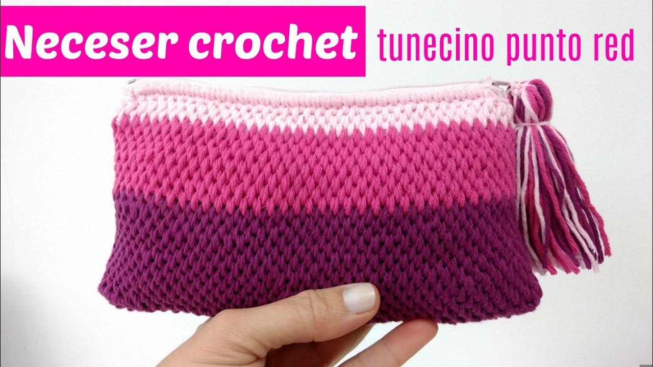 83f0736ae Neceser crochet tunecino con cremallera - YouTube