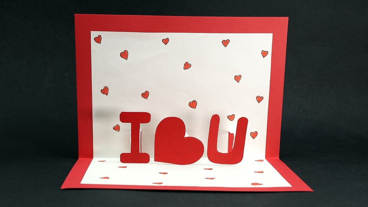 Handmade Valentine Pop Up Card - DIY Valentine I Love You ...