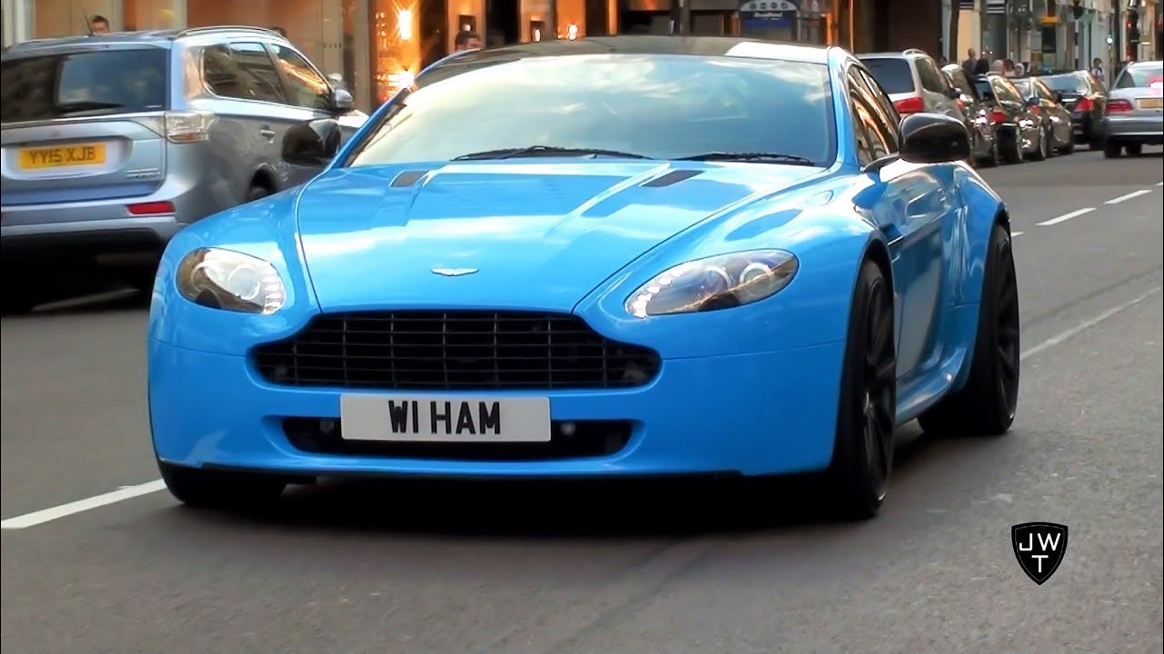 Baby Blue Aston Martin V8 Vantage in London! Start Up ...